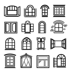 Window design icons set simple style vector