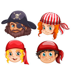 four faces of pirate crews vector image vector image