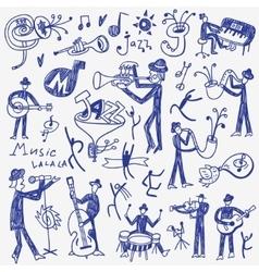 jazz musicians doodles set vector image