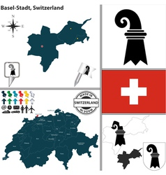 Map of basel stadt vector