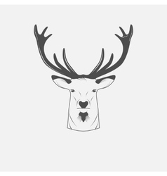 Deer head in black and white vector image vector image