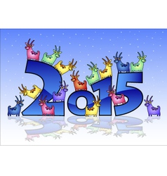 Happy New Year 2015 card with goats vector image vector image