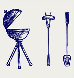 Set of bbq objects vector image