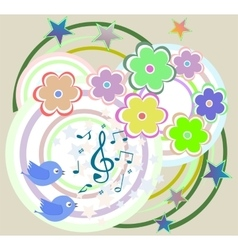 birds in love singing on abstract floral vector image vector image