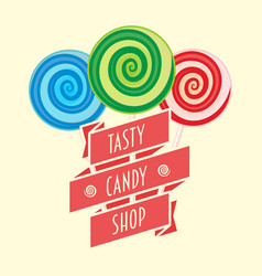 candy shop logo symbol or label concept with vector image vector image