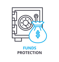 funds protection concept outline icon linear vector image vector image