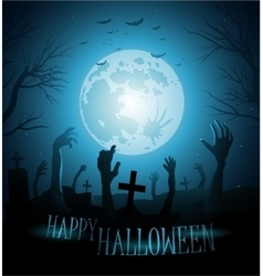 Halloween background with zombies and the moon vector image vector image