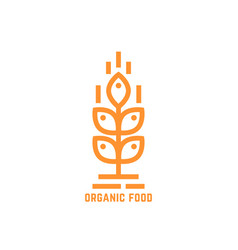 orange simple organic food logo vector image vector image