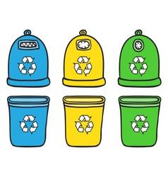 Set of recycle trash bins vector image