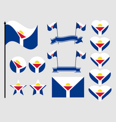 sint maarten flag set collection of symbols flag vector image