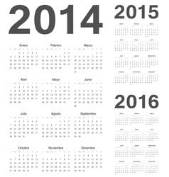Spanish 2014 2015 2016 year calendars vector image