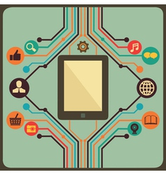 Abstract concept of social media with tablet pc vector image vector image