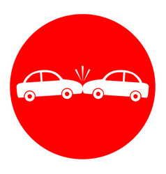 crashed cars sign white icon in red vector image vector image