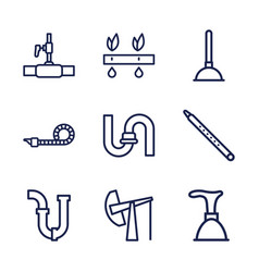 9 pipe icons vector