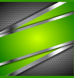 Abstract green background with metallic design vector