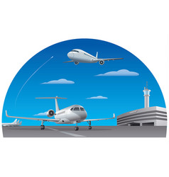 airport and airplanes vector image