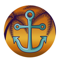 anchor marine with tropical palm in frame vector image