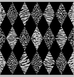 animal black and gray geometric seamless pattern vector image