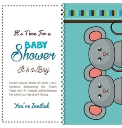 Baby shower card mice twins design vector