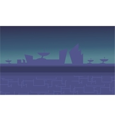 Blue backgrounds alien spacecraft for game vector