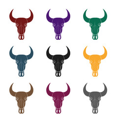bull skull icon in black style isolated on white vector image