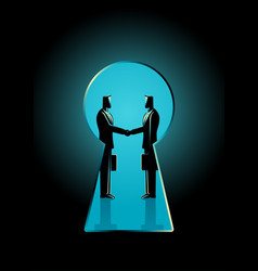 Businessmen shaking hands seen through a keyhole vector