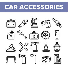 car accessories tool collection icons set vector image