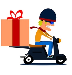 Cartoon moped driver with cargo vector image