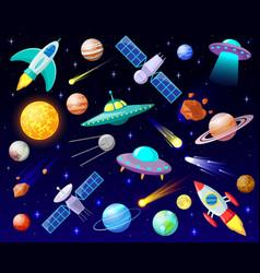 Cartoon open space planets cosmic celestial vector