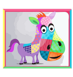 Children picture with a picture a donkey made vector