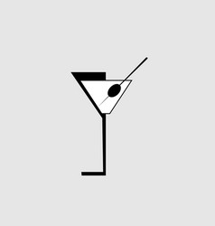 cocktail martini glass with olive for menu cover vector image