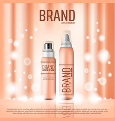 Cosmetic brand banner with skin care bottle vector