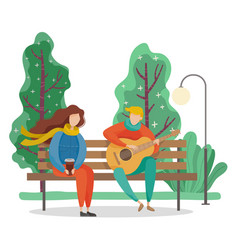 Couple sitting on bench in park spring weather vector