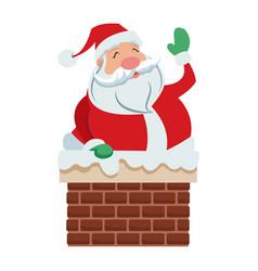 cute cartoon santa claus in chimney vector image