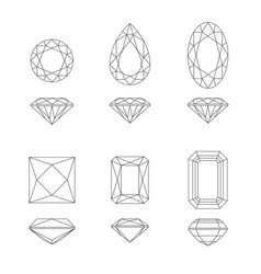 Diamond and gemstone shapes vector