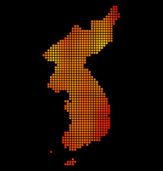 Dot fire north and south korea map vector