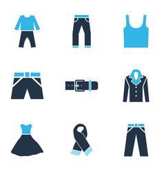 dress icons colored set with pyjamas scarf coat vector image