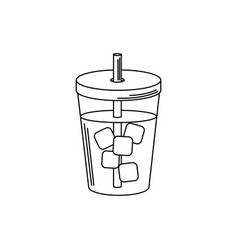 drinks beverage cold with ice cubes and straw line vector image