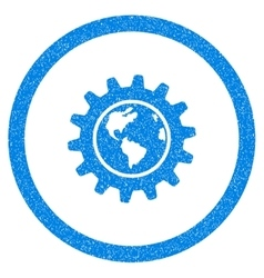 Earth Engineering Rounded Icon Rubber Stamp vector image