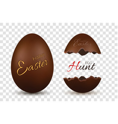 easter egg 3d chocolate brown whole and broken vector image