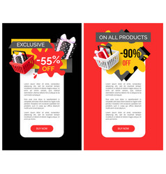 exclusive products sellout up to 90 percent off vector image