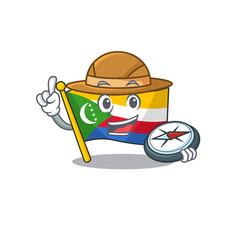 Explorer flag comoros cartoon character holding a vector