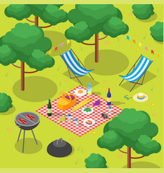 Family picnic with bbq isometric view vector