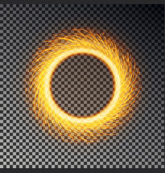 fiery sparks circle effect isolated sparkler ring vector image