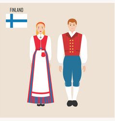 finnish woman and man in traditional costume vector image