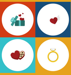 flat icon heart set of engagement gift shaped vector image