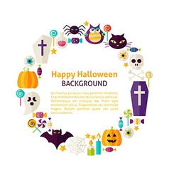 Flat Style Circle Template Collection of Halloween vector image