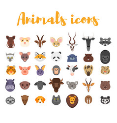 flat style set of animal web icons vector image