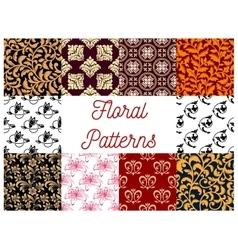 Floral stylized ornate decoration patterns vector image