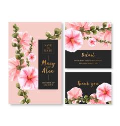 Flower garden wedding card design with hollyhock vector